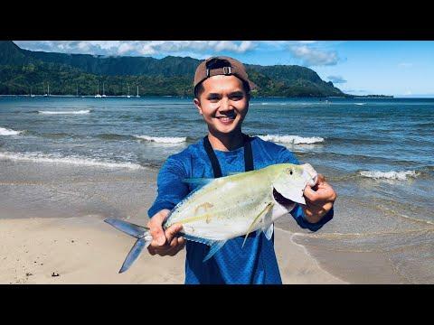 Fishing Papio On The Shores Of Kauai Hawaii