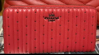Coach Red Zip Wallet With Quil…