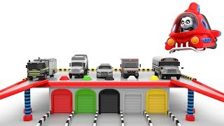 Assembly of Toy Cars Parking House  and Coloring Toy Cars - Pinky and Panda TV