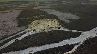 Drone over Twelve Apostles Stone Circle, Ilkley Moor, UK