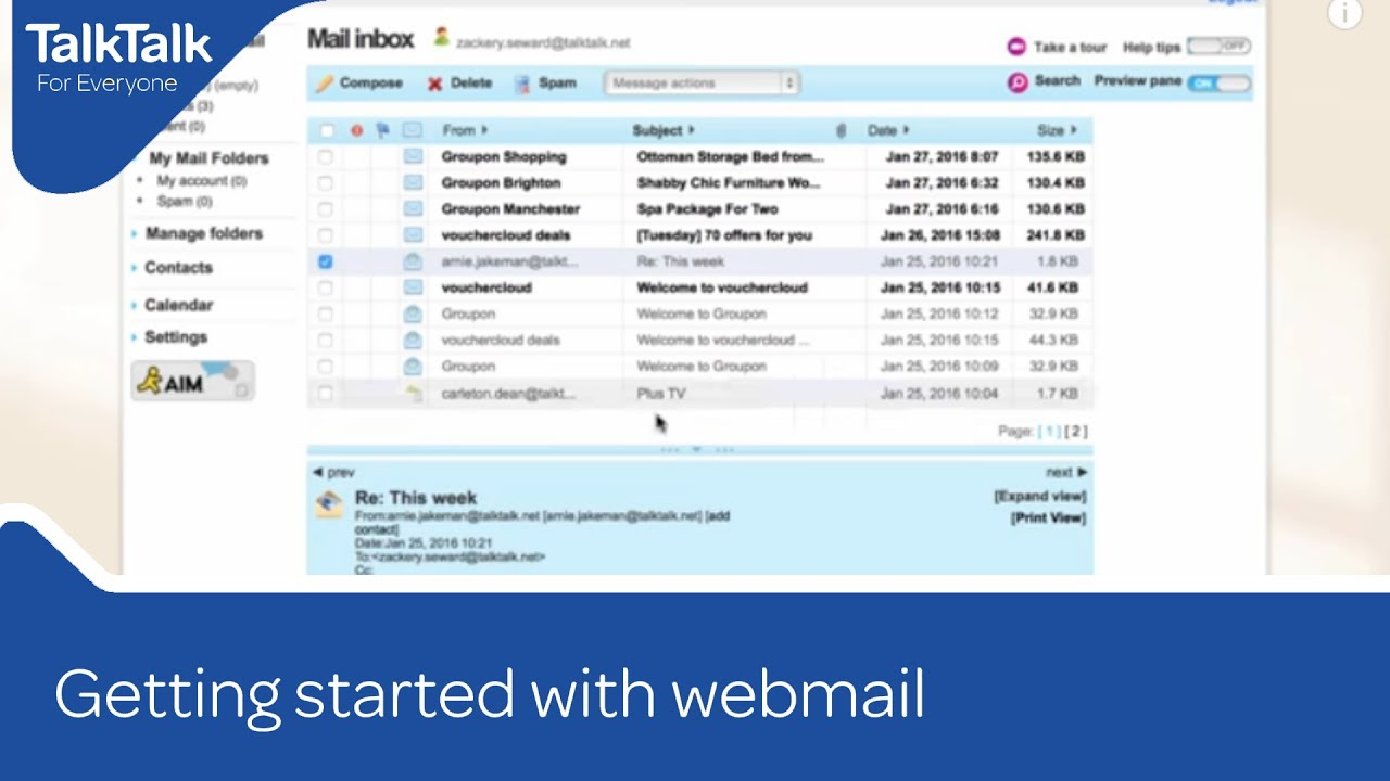 My Talktalk Webmail >> Getting Started With Webmail