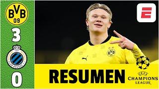 Dortmund 3-0 Club Brugge. DOBLETE de Erling Haaland. Gol y asistencia de Sancho | Champions League