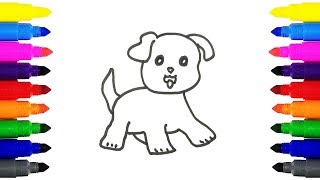 How to Draw Puppy for Kids | Drawing and Coloring Cute Puppy For Kids