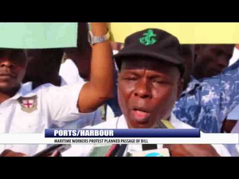 PORTS/HARBOUR: MARITIME WORKERS PROTEST PLANNED PASSAGE OF BILL