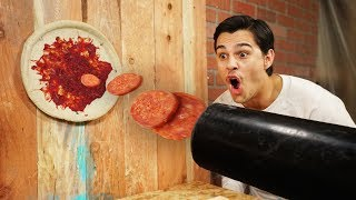 Making Pizza With A Cannon!