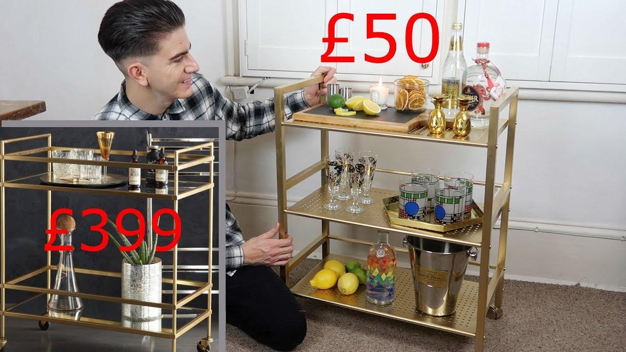 Bar Cart Diy Gold Barcart Upcycle Hack Styling Ideas Youtube