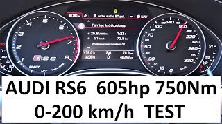 AUDI RS6 Performance 0-200 km/h & Exhaust Sound Acceleration TEST