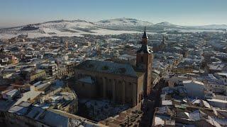 Herencia (Ciudad Real) a vista de pájaro en 4k. Día de la nevada Filomena 2021.