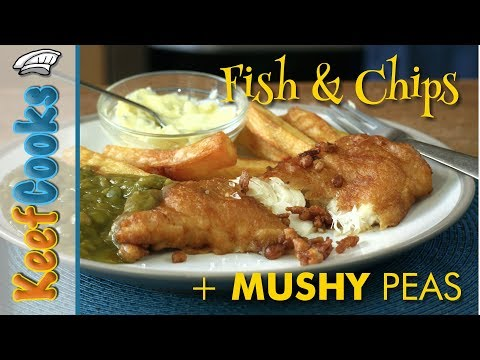 Fish & Chips With Mushy Peas & Tartare Sauce