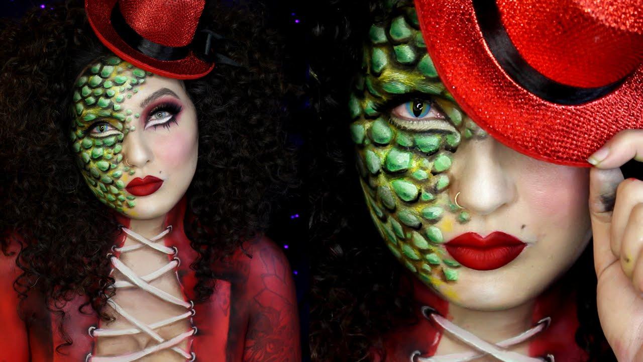 Reptile Ringmaster Circus Freak Halloween Makeup Tutorial ...