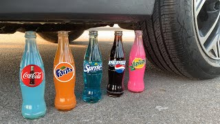 Experiment Car vs Pepsi, Cola Fanta Sprite Yedigün | Crushing Crunchy & Soft Things by Car | Test Ex
