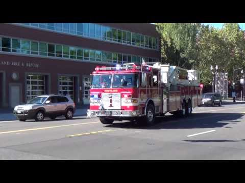 Truck 1 Responding Portland Fire & Rescue (2010 Pierce Arrow XT 95' Mid-Mount Platform)