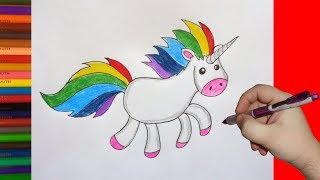 How to draw Rainbow Unicorn, Как нарисовать Единорога Радугу