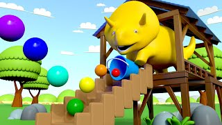 Learn Colors - Dino Plays Bouncing Balls - Learn with Dino the Dinosaur Educational cartoon for Kids