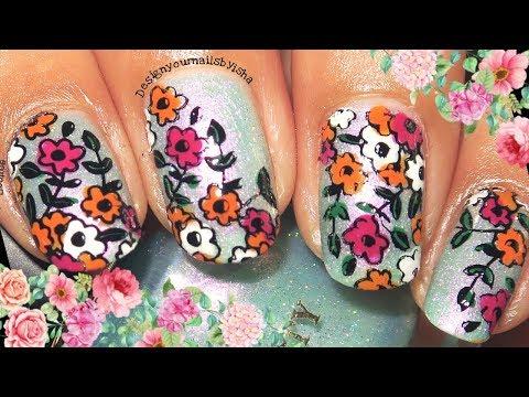 Flower Garden Nails  Reverse Stamping Nail Art Tutorial  Designyournailsbyisha