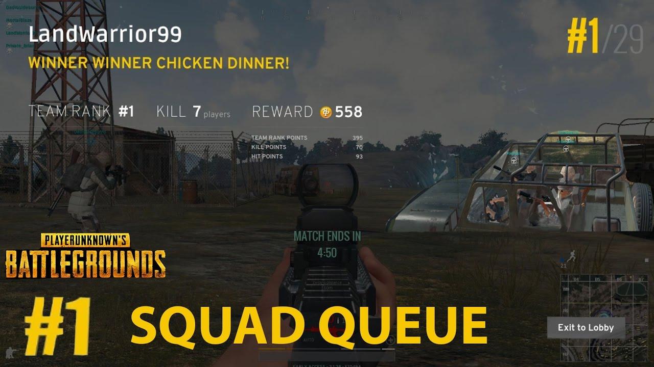 PUBG Squad Queue #1 Rank Win Suppressed M16 8x Scope