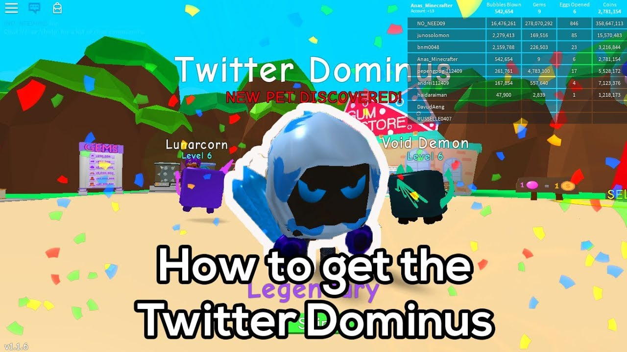 How to get the Twitter Dominus in Bubble Gum Simulator