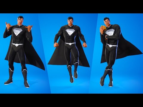 Black Superman Skin Showcase with Emotes  - Fortnite Battle Royale