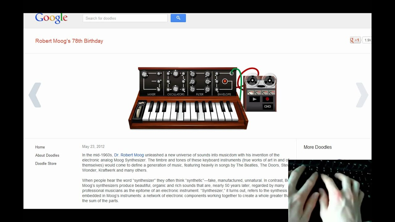 scary monsters played with google doodle moog youtube