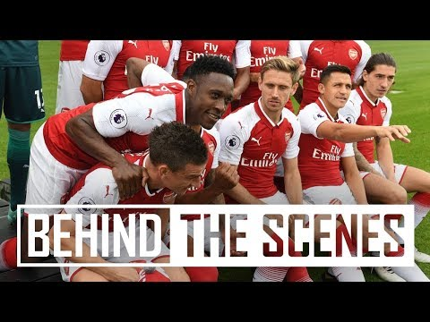 I'M ABSOLUTELY FREEZING! | Go behind the scenes at the 2017/18 Arsenal photocall
