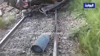 أول  فيديو للحظة أصطدام قطار بتروسيكل محمل باسطوانات البوتاجاز بمنطقة البدرشين