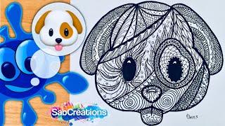 🐶 Comment dessiner un CHIEN emoji zen art - Tuto Time lapse - Dessin méditatif - SABCREATIONS