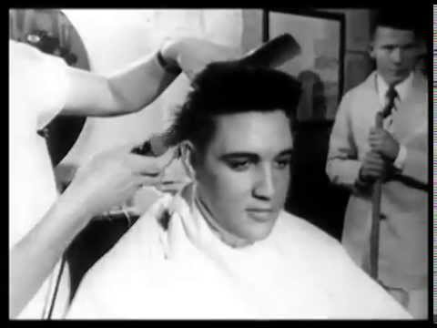 1958 Elvis Presley gets his Army haircut