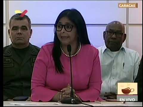 Vicepresidenta Delcy Rodríguez este 6 agosto 2019 ante nuevo bloqueo de Trump a Venezuela