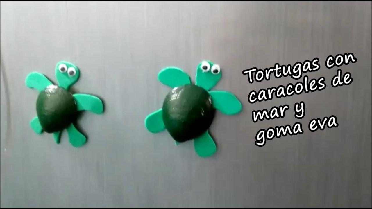 Tortugas con caracoles de mar y goma eva turtles shells for Cosas para hacer con goma eva
