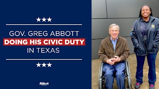 Governor Greg Abbott Does His Civic Duty in Texas