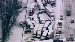Massive vehicle pileup on interstate I-94 Michigan due to firework Truck explosion