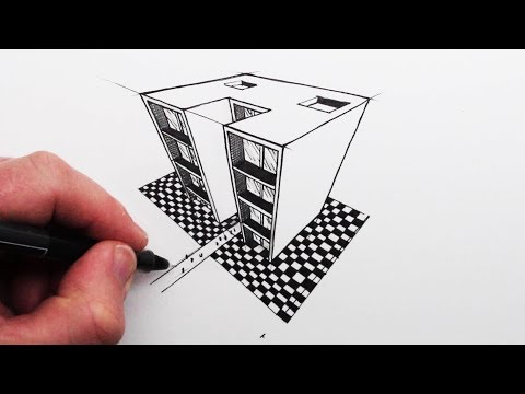 how-to-draw-using-3-point-perspective:-simple-buildings