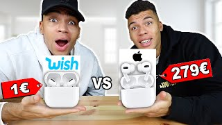 1€ AirPods Pro VS 279€ AirPods Pro !!! (ORIGINAL VS FAKE VON WISH) | Kelvin und Marvin