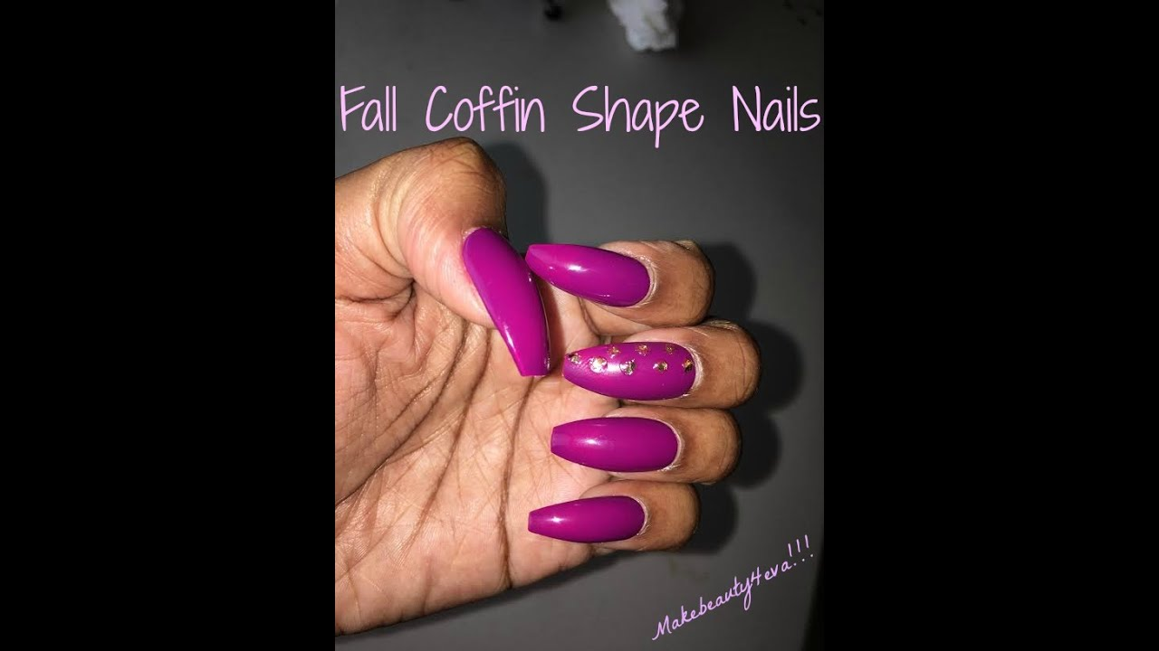 FALL NAILS...COFFIN SHAPE...TUTORIAL - YouTube