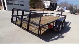 Utility Trailer 6.4x16 Dove Tail Double Axle Includes Gate And Trimmer Racks Sle