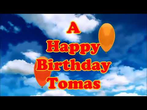 Tomas Happy Birthday floating balloons