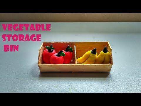 DIY Miniatrure Vegetable, Fruits Storage Bin with Play Doh Fruits - Dollhouse craft