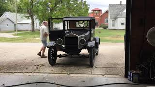 1926 Ford Model T Coupe start up and taking off on my first drive.