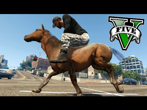 GTA V MONTANDO A CABALLO Y CARRERA DE CABALLOS EN GTA !! Horse in GTA V MODS Makiman