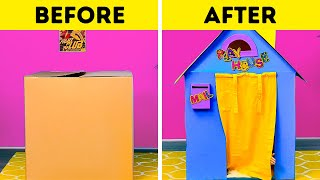 EASY DIY PLAYHOUSE FOR YOUR KIDS || 5-Minute Recipes To Have Fun With Cardboard
