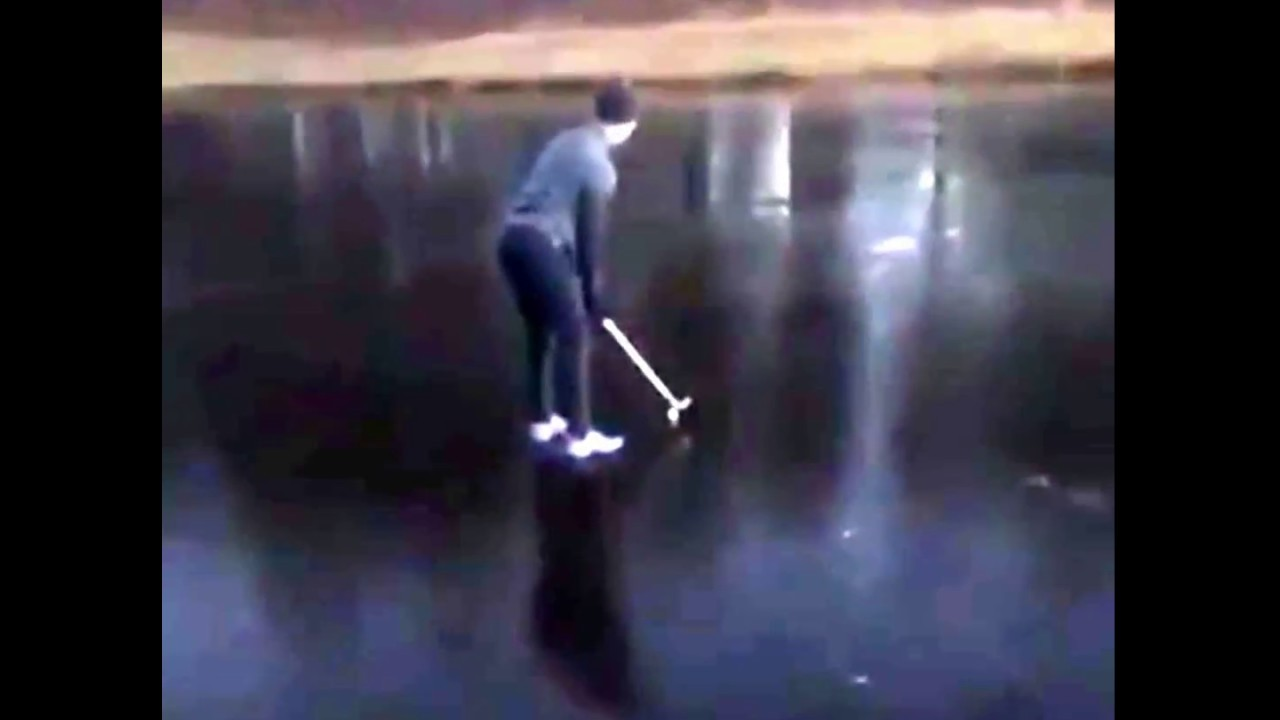 golfer falls into frozen over lake youtube