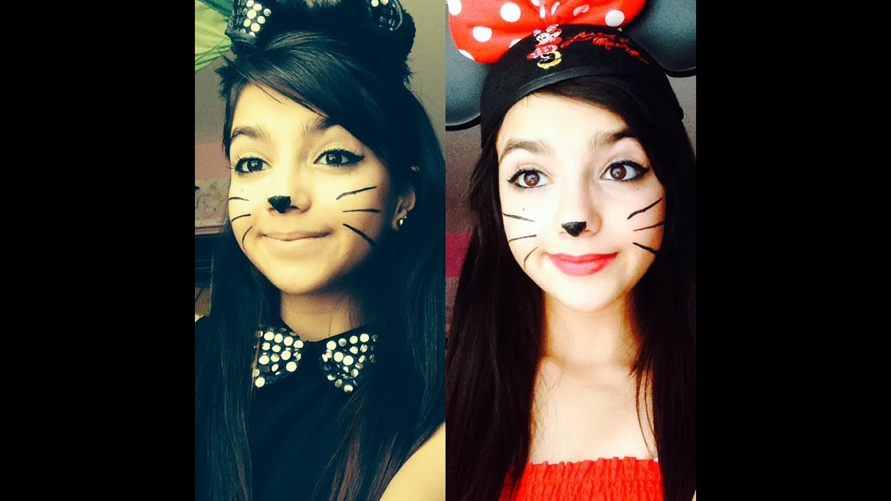 diy halloween costumes cat and minnie mouse