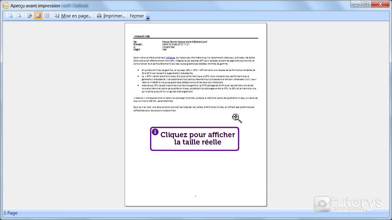 comment imprimer un email avec outlook 2007