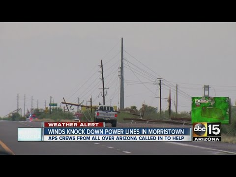 Winds snap power lines in Morristown, AZ with 52 poles down
