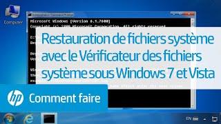 Restauration de fichiers système avec le Vérificateur des fichiers système sous Windows7 et Vista