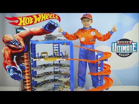 Хот Вилс СУПЕР ГАРАЖ ГИГАНТ с Гориллой и Hot Wheels Машинки для детей  - Играем с Даником