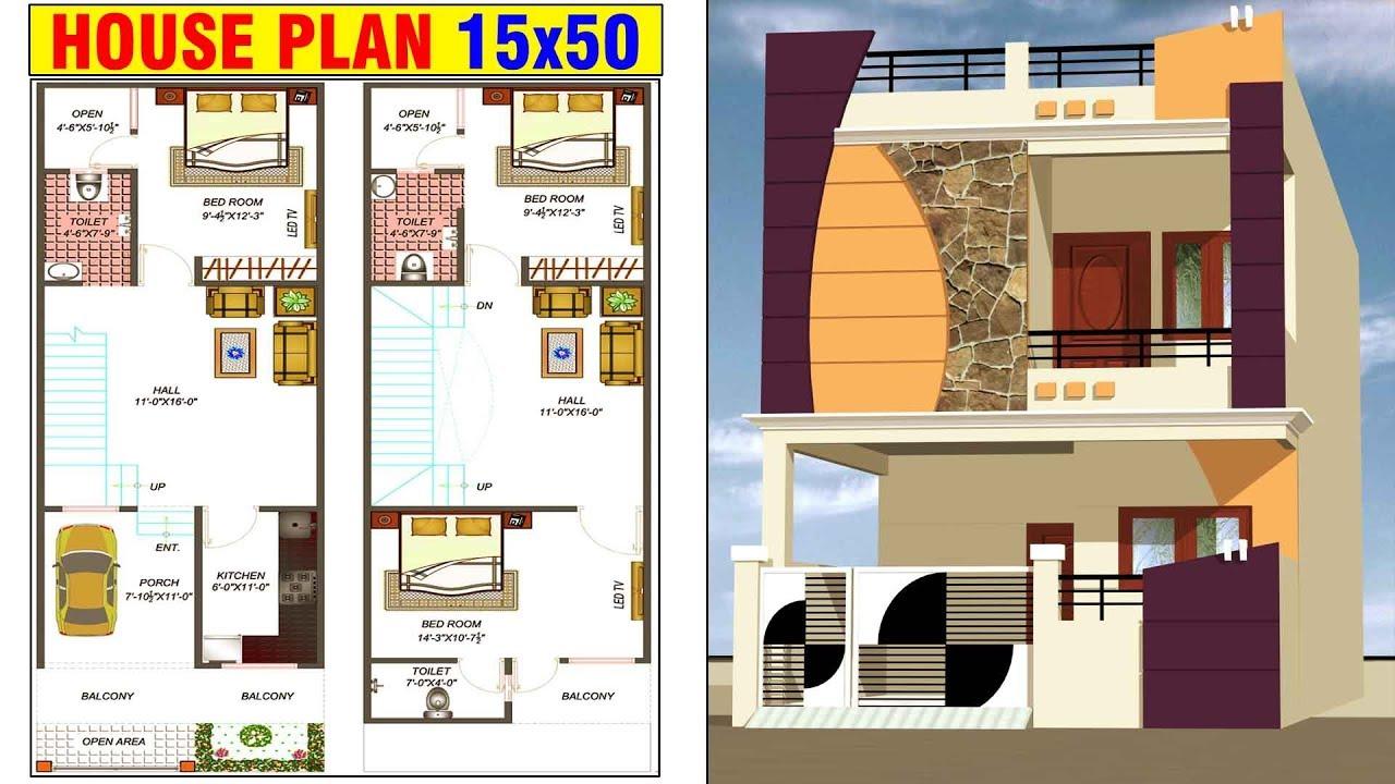 15'x50' house plan | 15x50 house design | RD Design