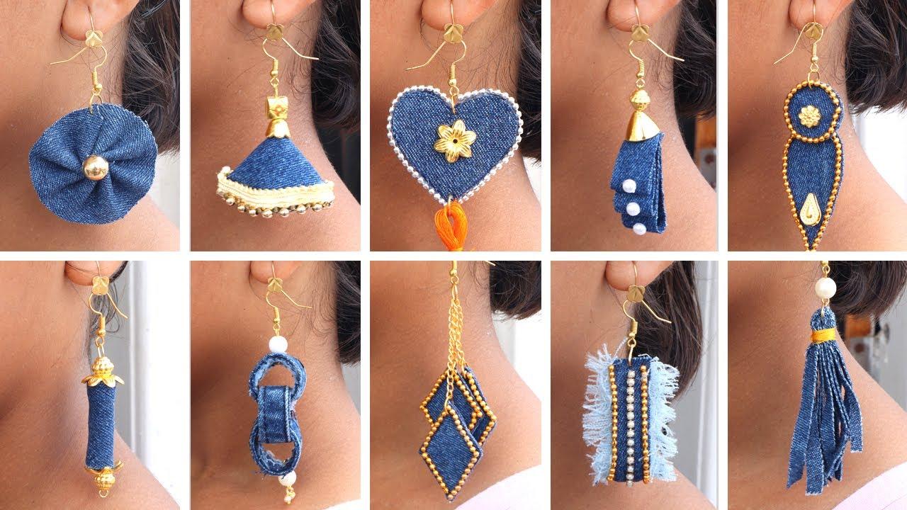 10 Fancy Earrings!! Make Earrings from Old Jeans !! DIY Jeans Earrings ! Sonali's Creations