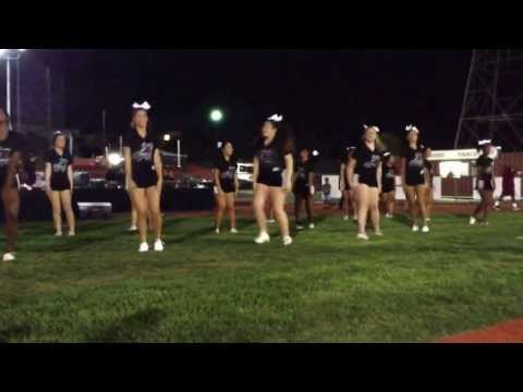The Alemany cheerleading squad at the football fundraiser