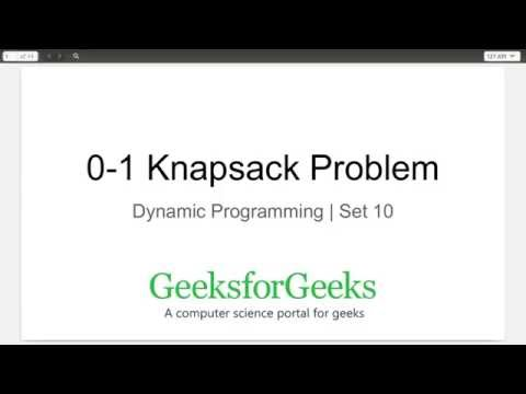Dynamic Programming | Set 10 (0-1 Knapsack Problem) | GeeksforGeeks